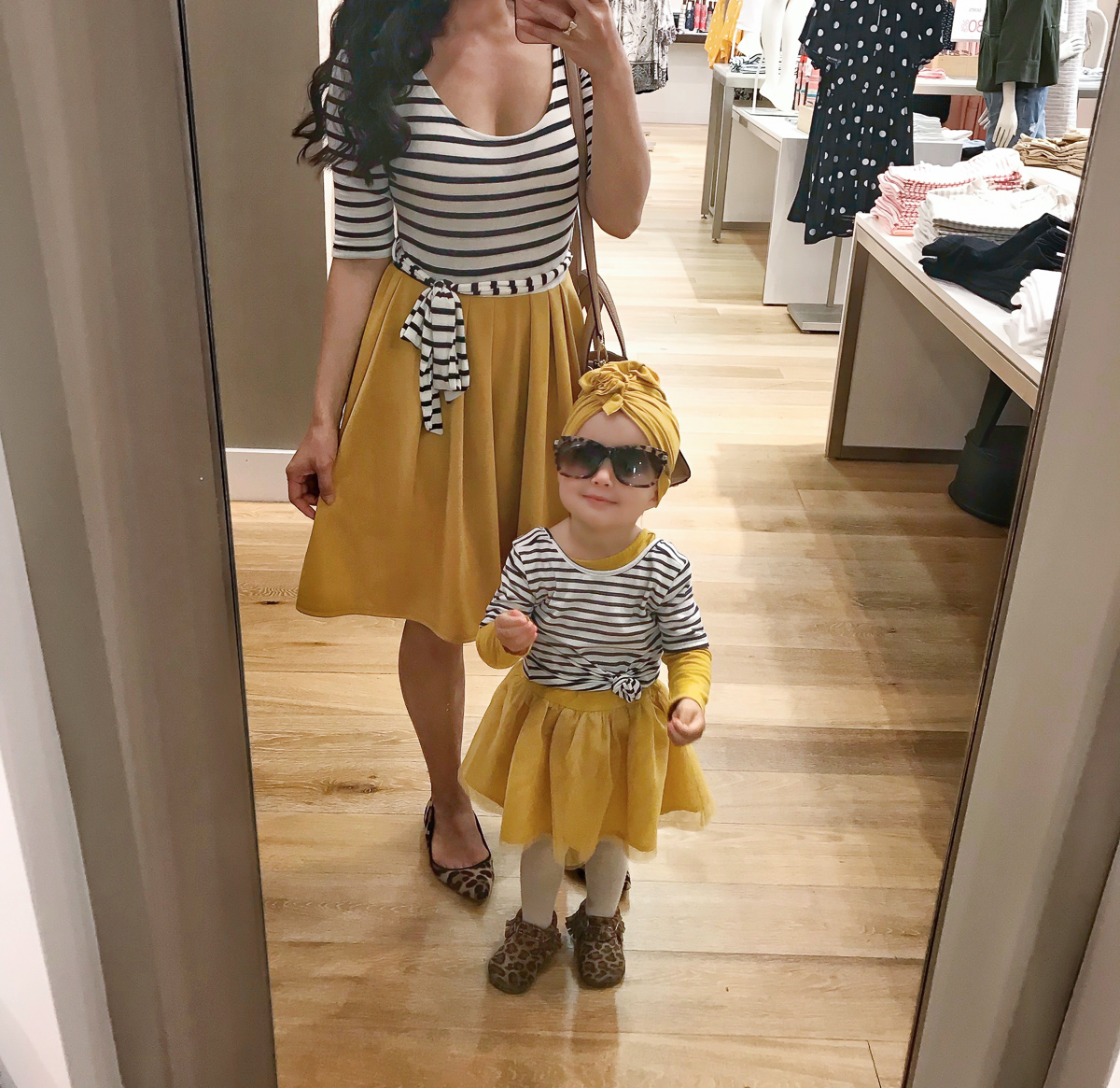 mommy and me matching stripes mustard dress leopard shoes