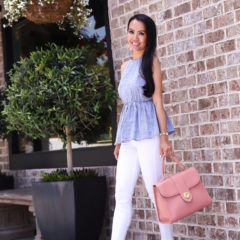 chambray peplum halter top white jeans neutral sandals