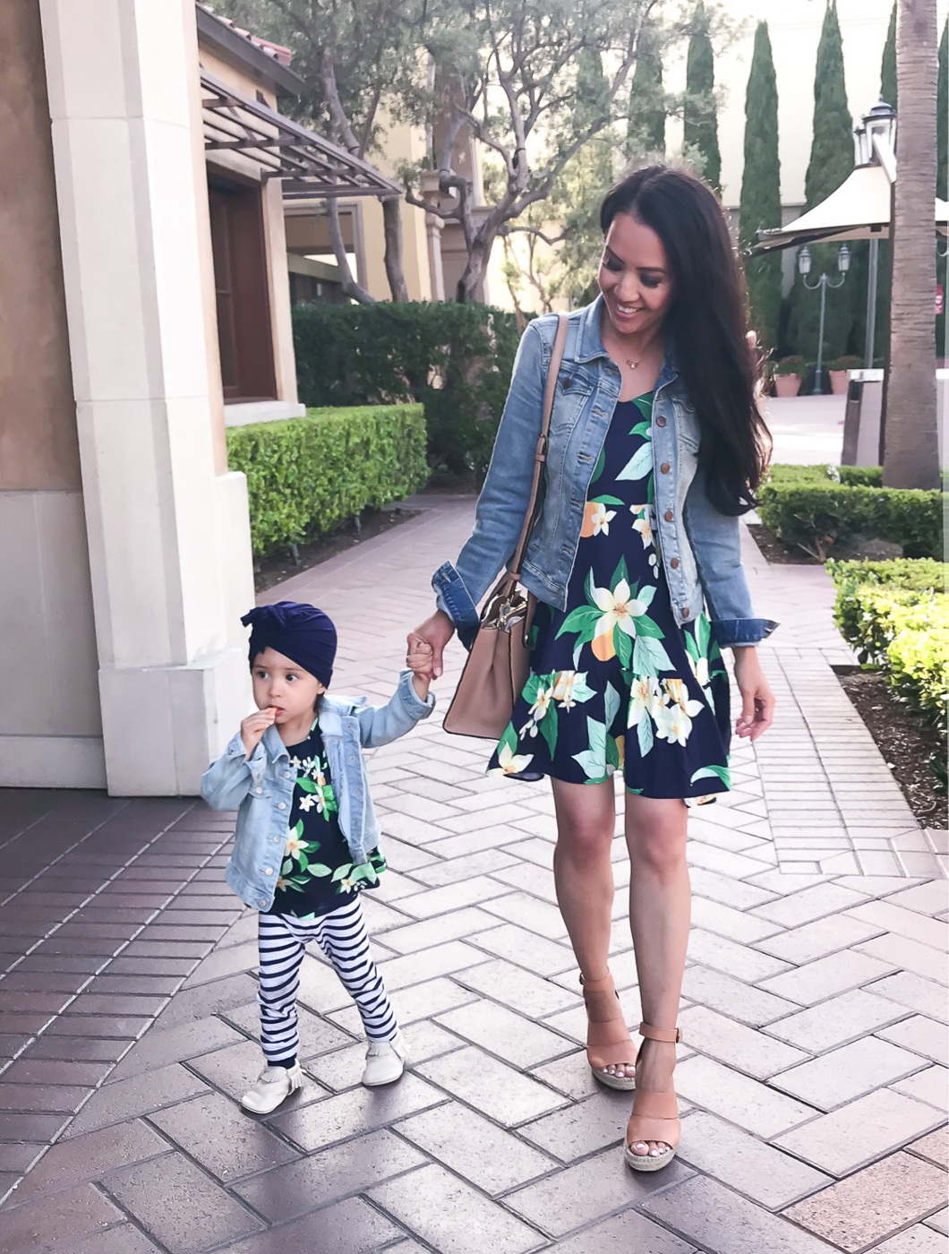 mommy and me matching floral outfits denim jacket summer spring twinning
