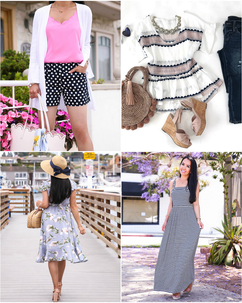 summer outfit ideas floral dress polka dot shorts striped maxi dress