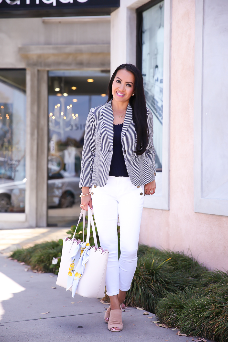 ann taylor sailor white jeans seersucker blazer scalloped tote business casual outfit