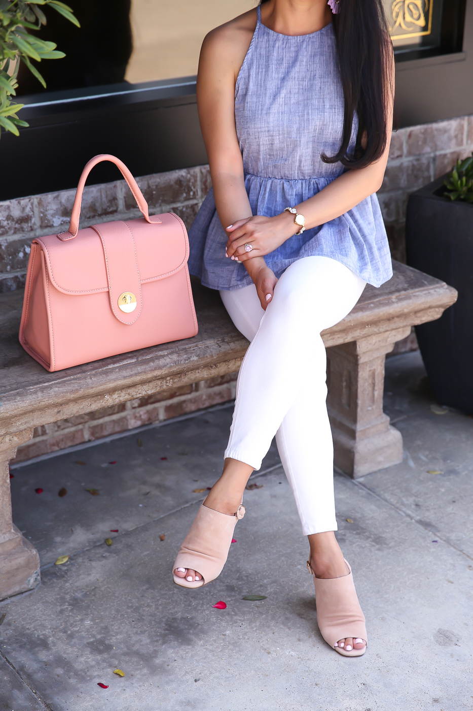 chambray peplum halter top white jeans sling back sandals summer outfit idea
