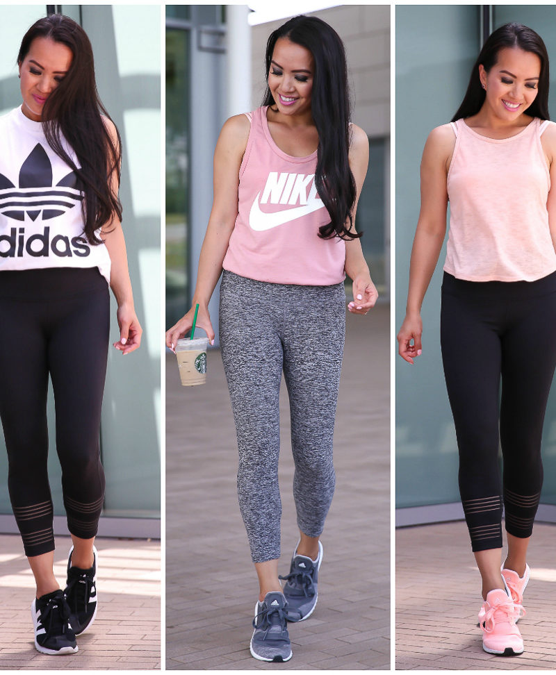 petite friendly athleisure outfits cropped leggings adidas foil tank nike tank