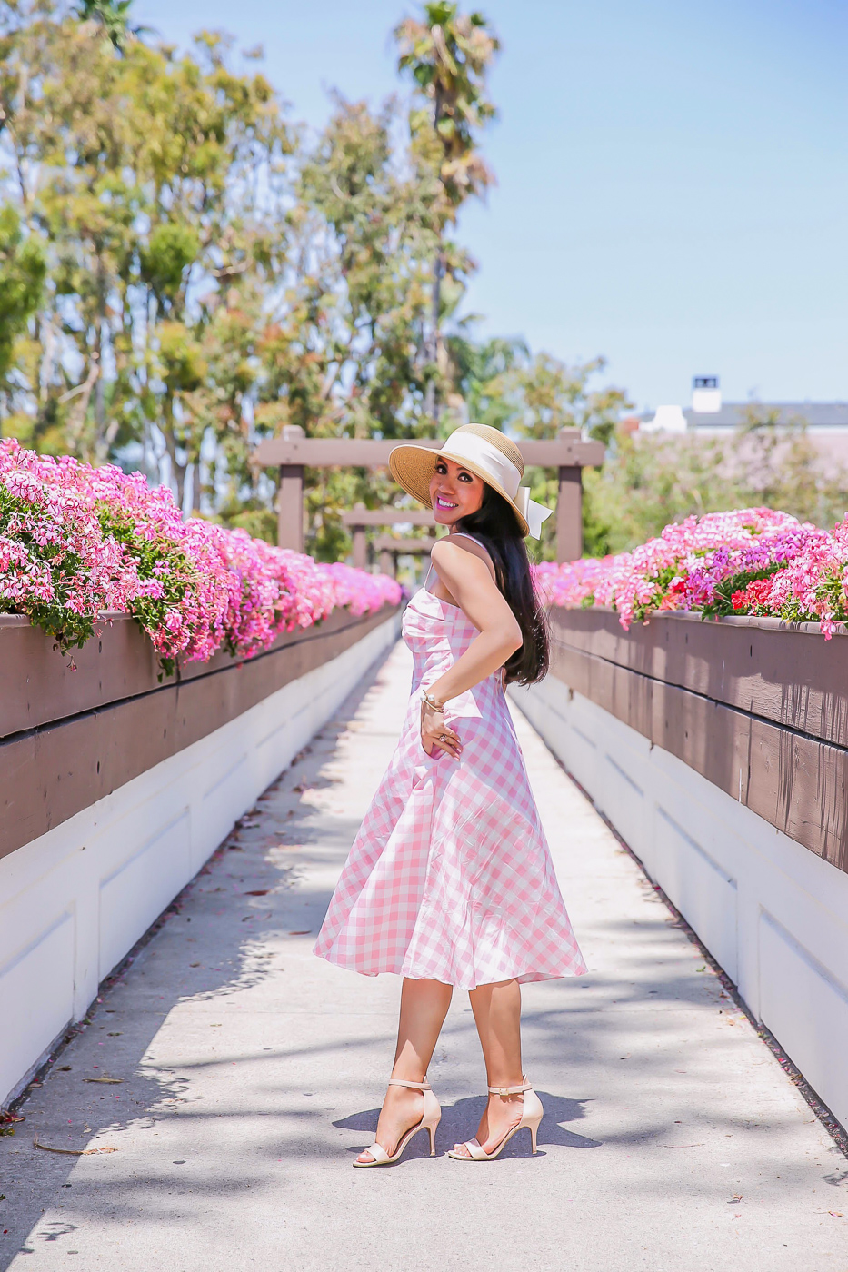 bow hat pink gingham midi dress summer outfit idea