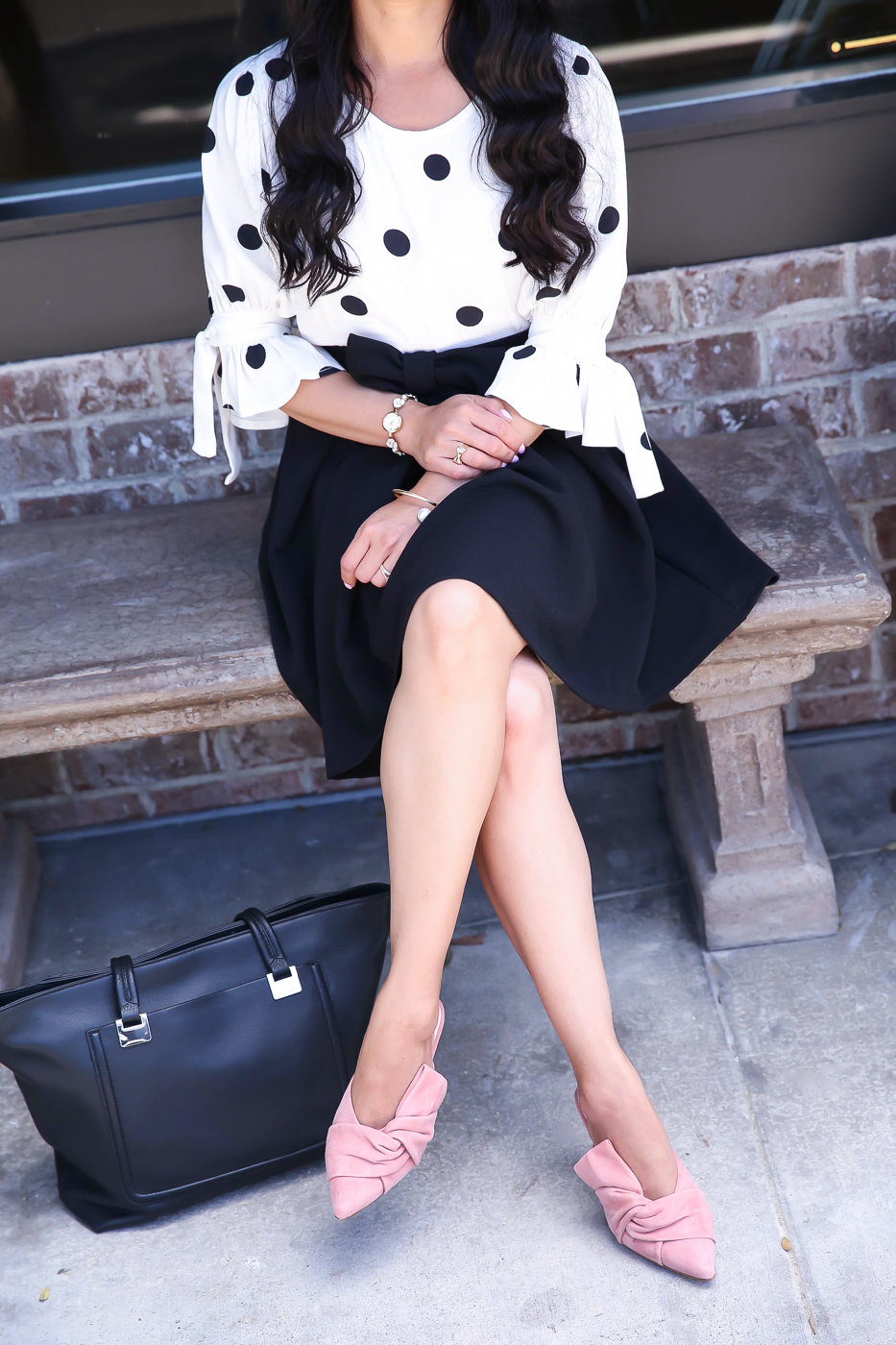 pink bow mules polka dot blouse bow skirt work outfit black leather tote