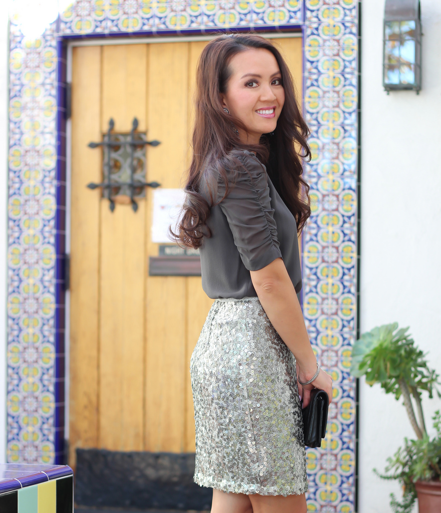 Ann Taylor Sequin Mini Skirt and Silk Theory Blouse-5