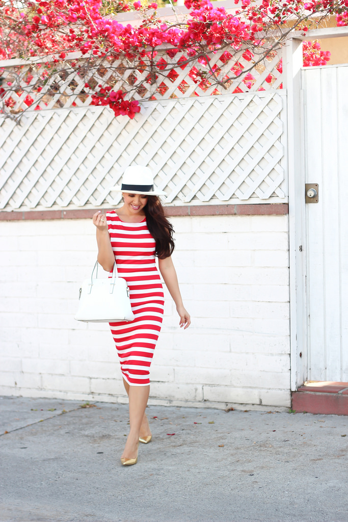 Nordstrom Rack Red Striped Midi Dress and J.Crew Panama Hat-11