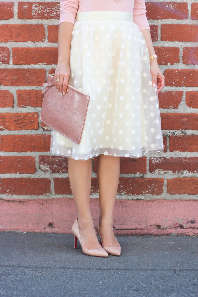 Space 46 Boutique polka dot tulle skirt Jcrew blush tissue tee Louboutin pigalle nude pumps Ann Taylor crystal pearl statement necklace
