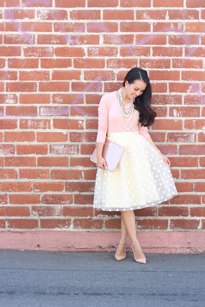 polka dot tulle skirt blush tee nude pumps valentines day outfit