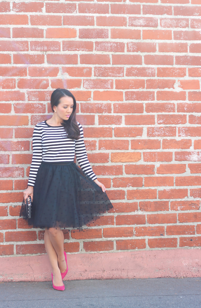 Space 46 Boutique Black Polkadot Tulle and Striped Sweater-5