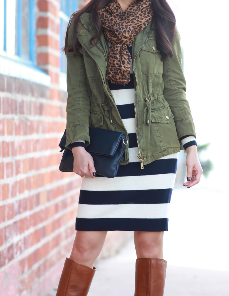 Utility Jacket, Striped Sweater Dress and Leopard Scarf ...