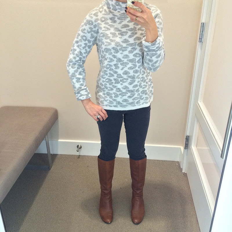 Fitting Room- Loft animal spot sweater and modern corduroy pants