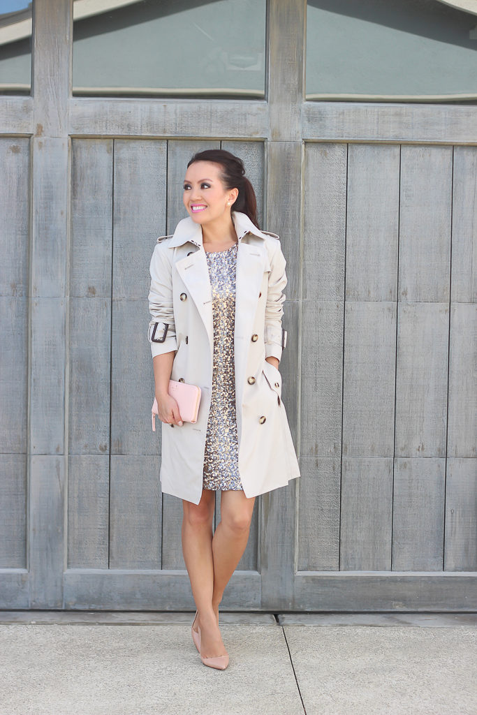 burberry brit marystow trench coat, Burberry London Mottram Trench, christian louboutin pigalle blush nude pumps, New Years Eve Outfit: BB Dakota Valet Sequin Body-Con Dress