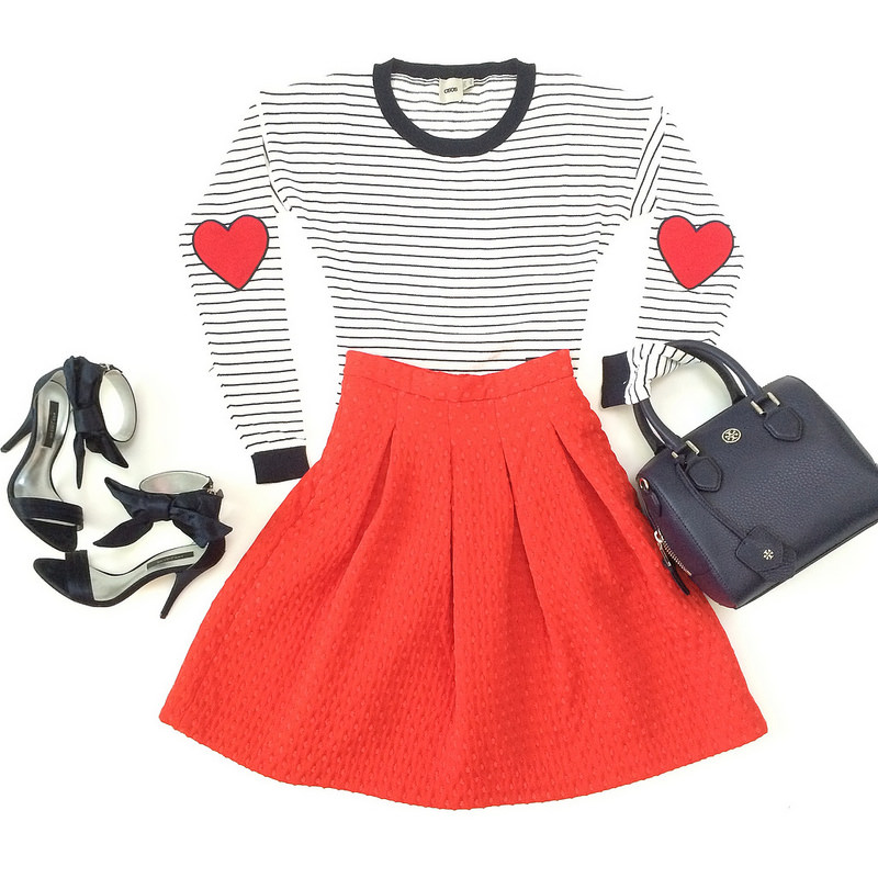Asos striped heart elbow patch sweater H&M red swissdot pleated skirt Ann Taylor Jackie bow navy sandals