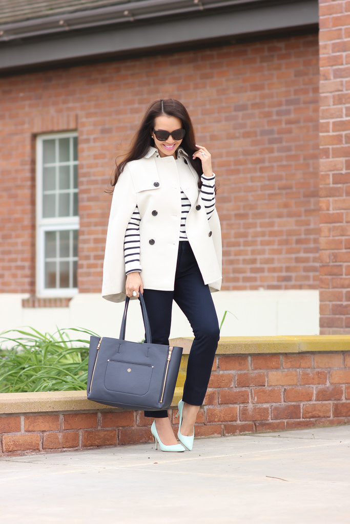 Ann Taylor Petite Trench Cape, Ann Taylor Stripe Shoulder zip cotton top, J.Crew Elsie Mint Pumps, Banana Republic Sloan Ankle Navy Pants and Ann Taylor Signature Pebbled Tote in Navy