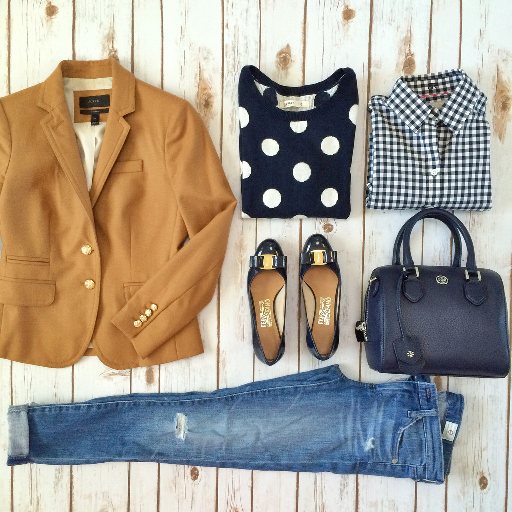 Outfit Layout - J.Crew schoolboy camel blazer, Navy polkad dot sweater, Ferragamo navy Vara pumps and AG jeans