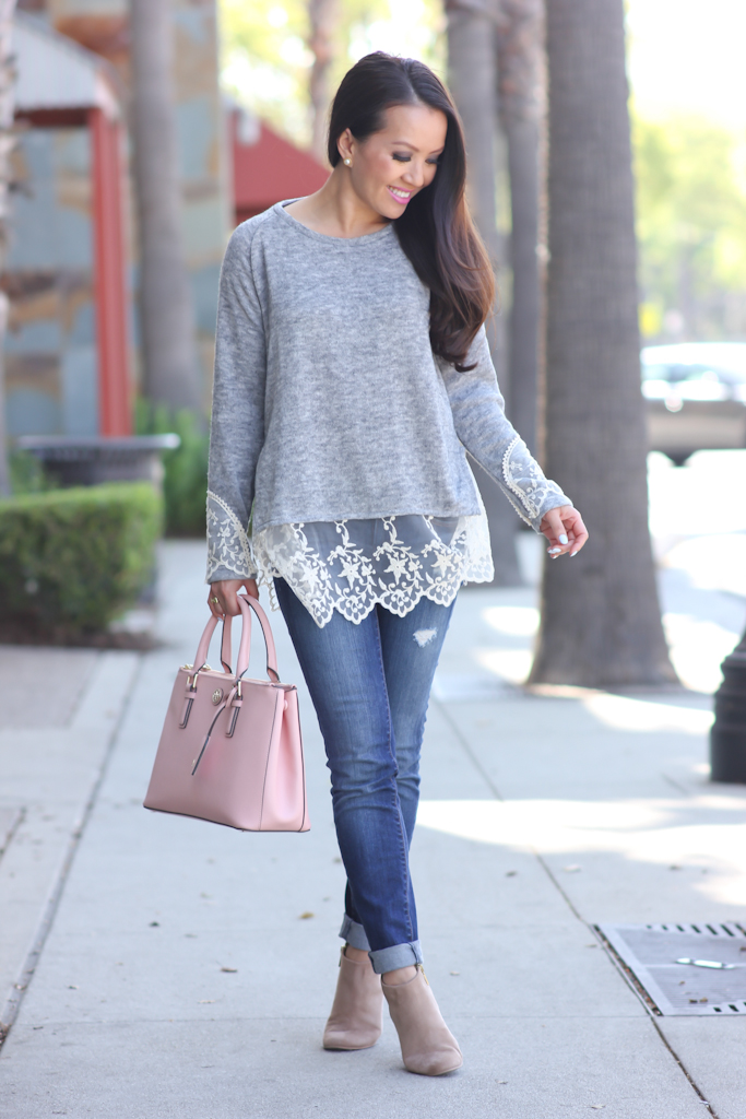 Casual weekend outfit: Grey lace hem sweater, distressed ...