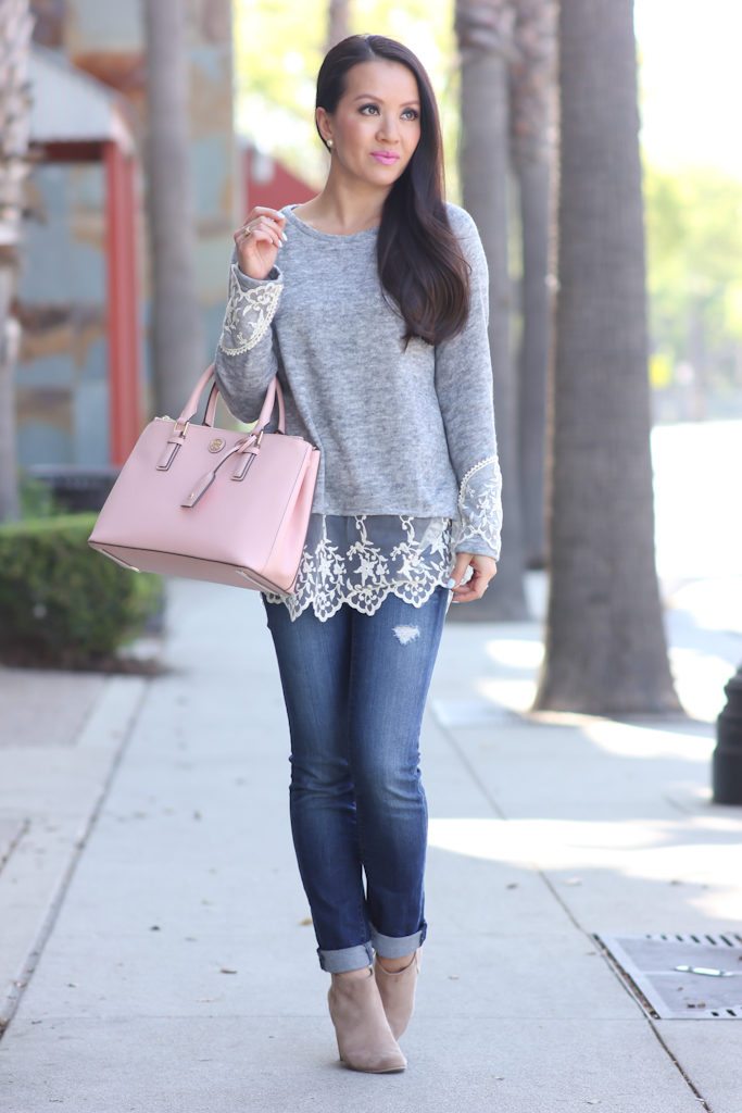 Casual Weekend Outfit Grey Lace Hem Sweater Distressed