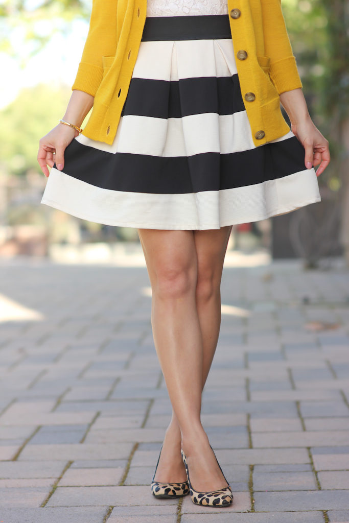 Modcloth stripe it lucky skirt Loft mustard cardigan Leopard pumps Chanel WOC Banana Republic mad men lace shell