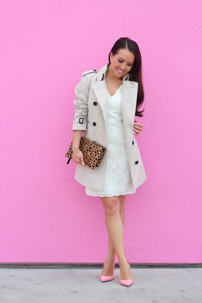 Ann Taylor scalloped lace dress Burberry Trench Coat Christian Louboutin Pigalle follies pink pumps Clare V leopard foldover clutch