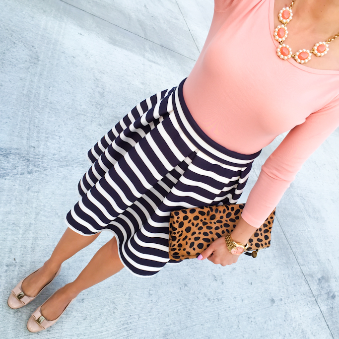 Chicwish striped tulip skirt Jcrew peach boatneck tee Banana Republic necklace Ferragamo Vara pumps Clare V leopard clutch