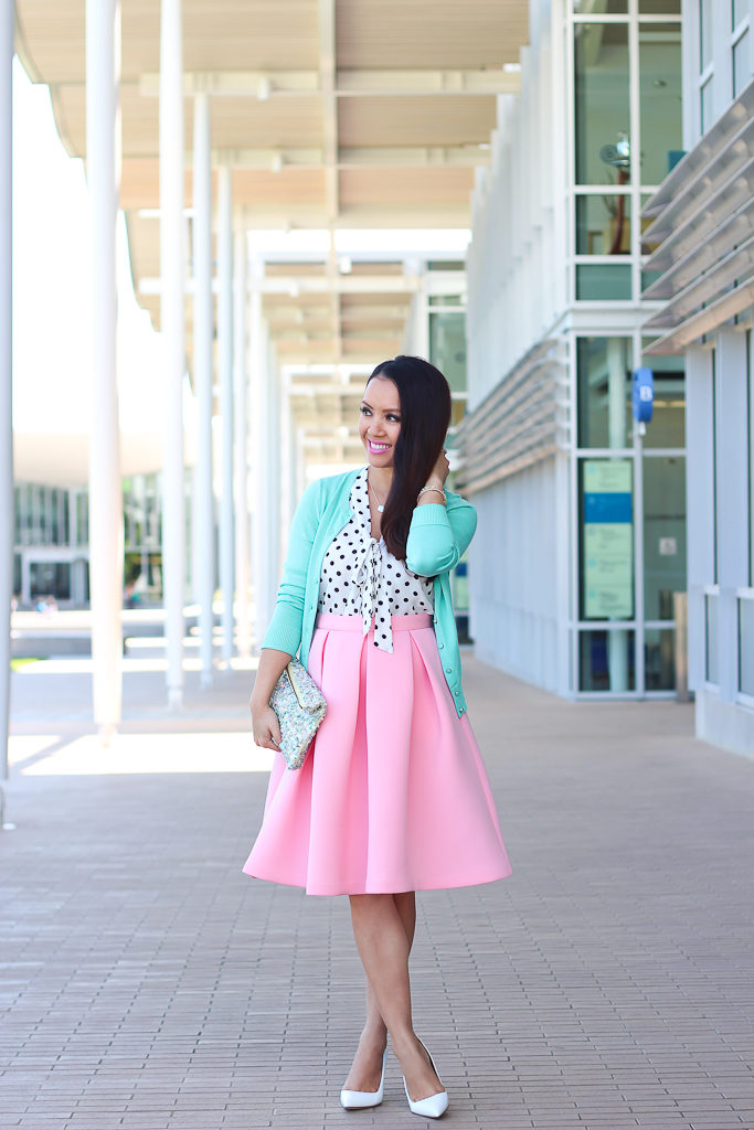 Manolo Blahnik BB white pumps Mint Cardigan Modcloth Emphasize The Adorable Skirt in Pink Modcloth South Florida spree in white dots zara mint sequin clutch
