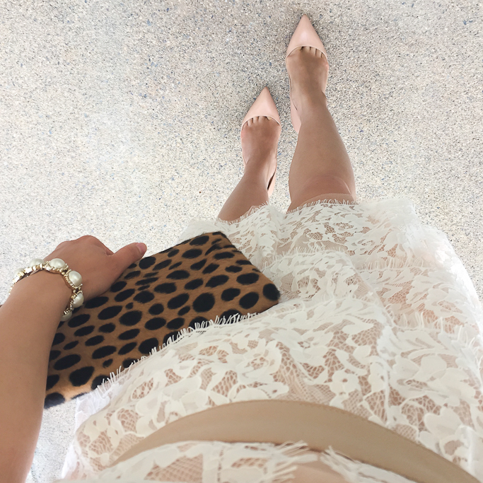 Christian Louboutin nude pigalle pumps, Clare V leopard foldover clutch, pearl cabochon bracelet, Sheinside sleeveless hollow slim lace tiered dress