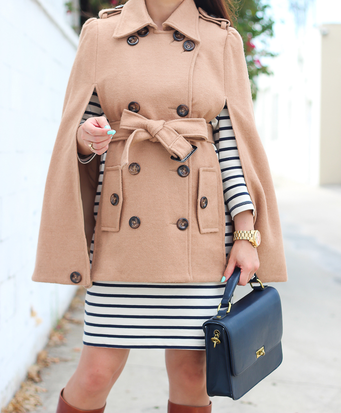 4 ways to wear a striped dress, Burberry trench coat and striped dress, camel cape and striped dress, Clare V leopard foldover clutch, cognac boots, flamingo scarf and striped dress, Kate Spade lottie pink pumps, maternity style, petite maternity, striped dress and utility vest, suede ankle booties