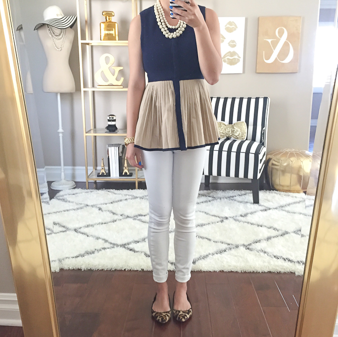 Anthropologie darcy peplum top, leopard flats, Paige Denim cropped white jeans