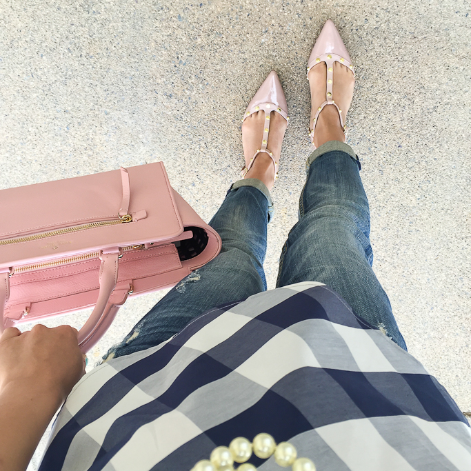 Anthropologie checked poplin peplum, Halogen Olson Pointy Toe Studded T-Strap Flat, Kate Spade north court corallinepebbled leather satchel, Vigoss distressed dublin skinny jeans