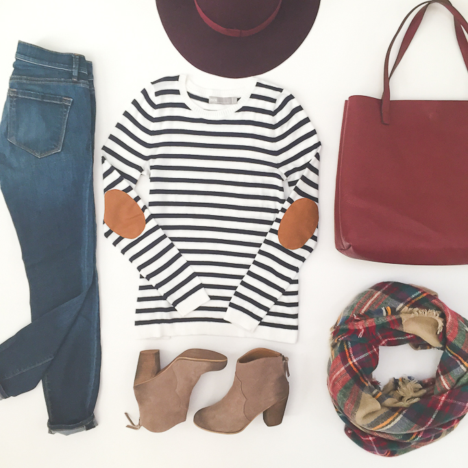Asos elbow patch striped sweater, BP trott ankle booties, Burgundy reversible tote, burgundy wool hat, Fall outfit, plaid blanket scarf
