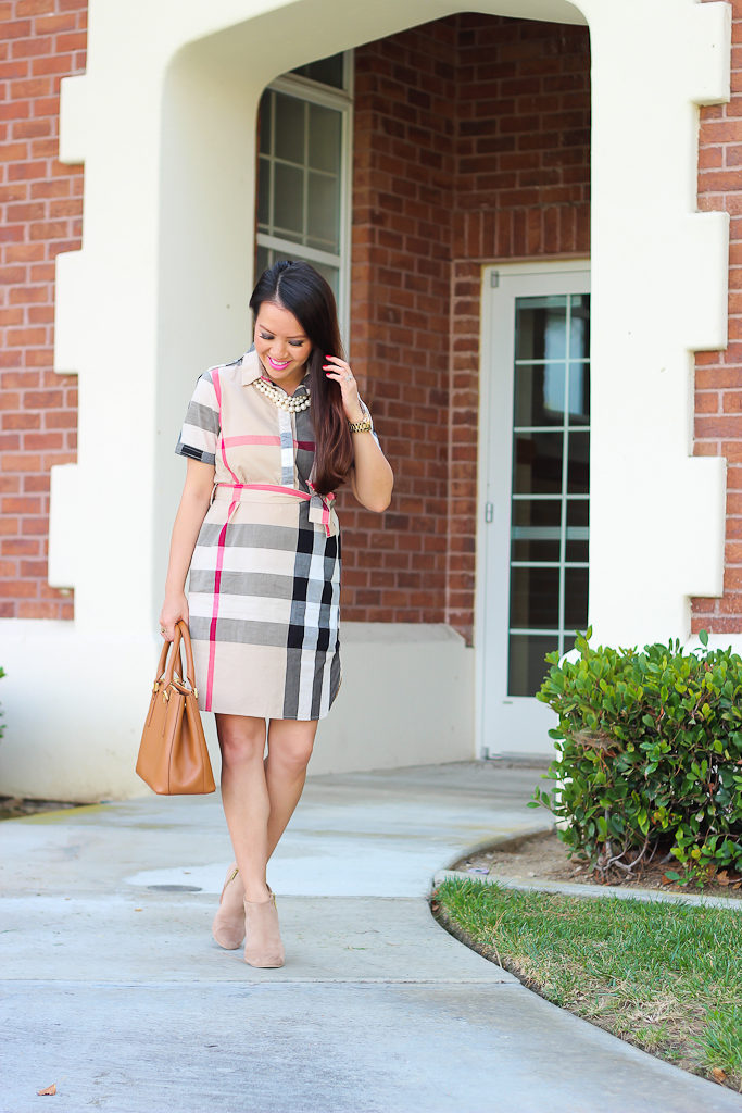 Burberry dress, dress with ankle booties, Fall outfit, faux three strand pearl necklace, Nordstrom Rack Abound booties, plaid check burberry dress, SheIn Beige Lapel Short Sleeve Check Drawstring Dress, Tory Burch mini Robinson bag in luggage