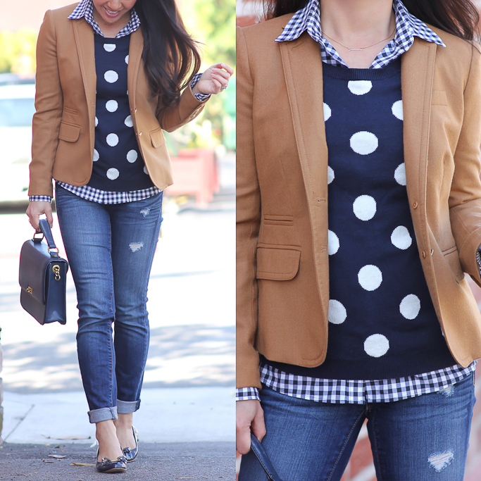Old Navy polka dot sweater Jcrew schoolboy camel blazer Loft modern distressed denim Ferragamo vara bow pumps Jcrew edie navy bag banana republic gingham shirt
