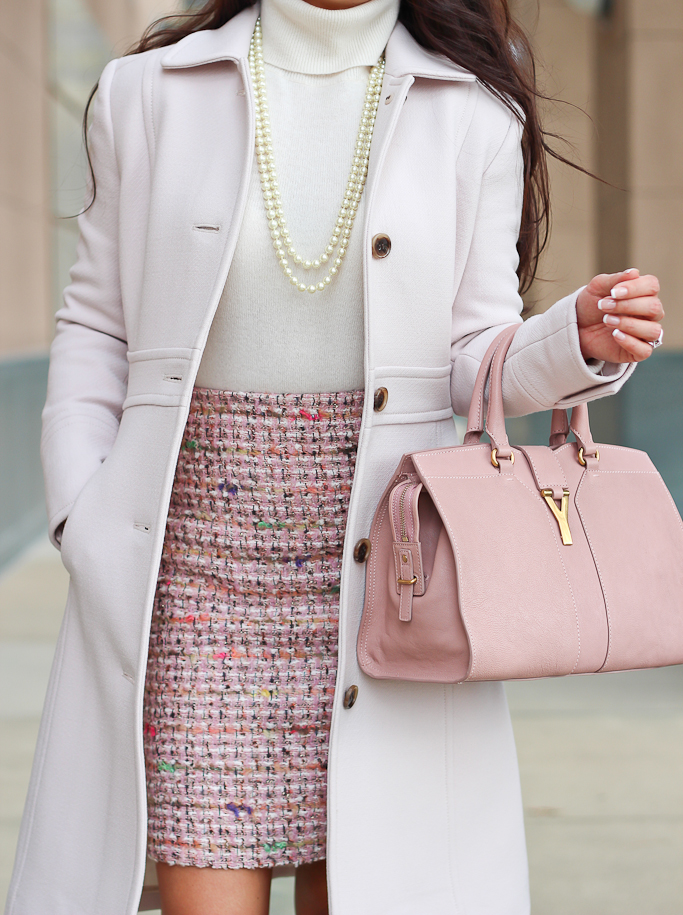 business work outfit pink tweed skirt white turtleneck classy outfit idea