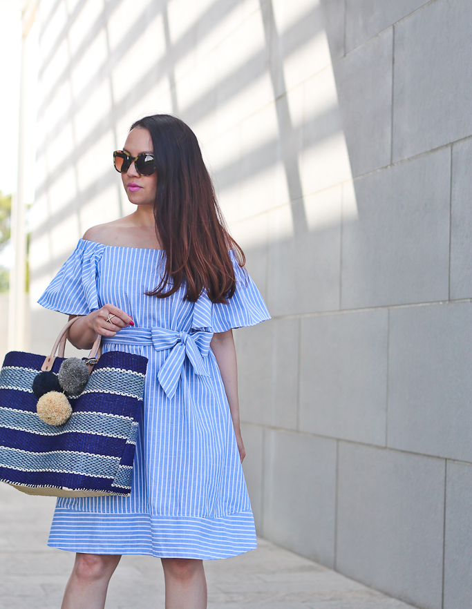 Chicwish RUFFLED IN TIME OFF-SHOULDER DRESS IN STRIPES, Mar Y Sol Capri Woven Tote with Pom Charms. fucshia ankle strap sandals, Tory Burch cat eye tortoise sunglasses