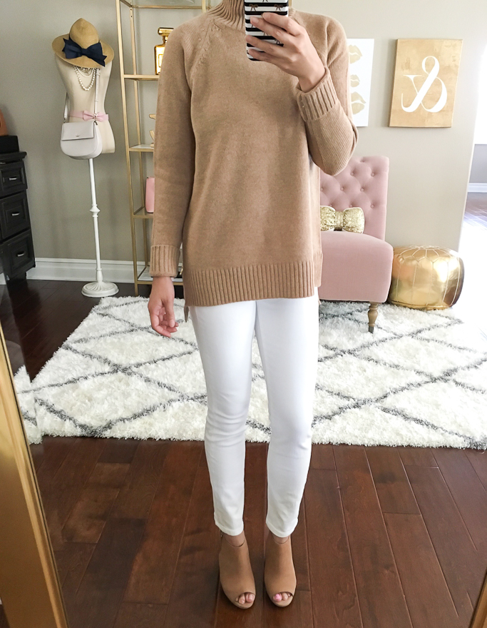 Ann Taylor Odette Bow Pumps, camel tunic sweater, lace yoke top