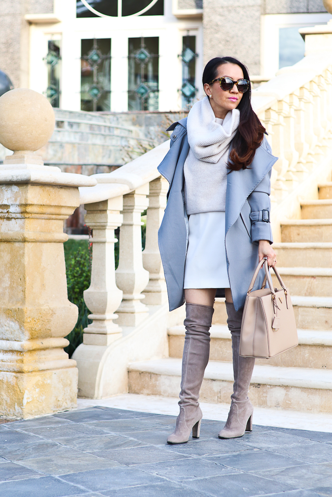 Chicwish Gray Trench Coat, Express snood sweater, Prada Gardener blush pink Tote, Stuart Weitzman highland over the knee boots, white pencil skirt