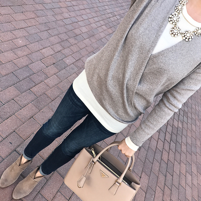 wrap cardigan ankle booties fall outfit idea prada handbag