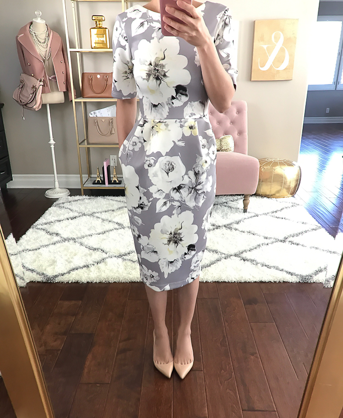 ASOS PETITE Smart Dress with V Back in Gray Floral Print