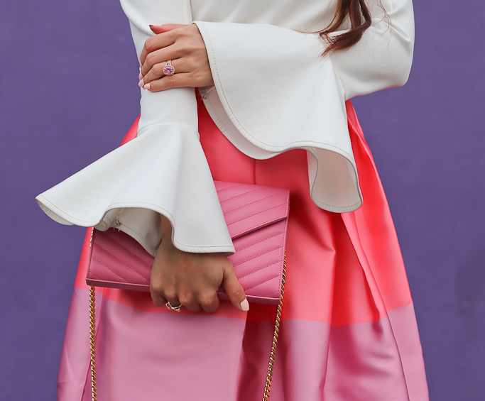 Cheer Flare Sleeves Top in White, Chicwish Lollipops Color Block Printed Midi Skirt, Manolo blahnik BB white pumps, YSL saint Laurent wallet on chain WOC