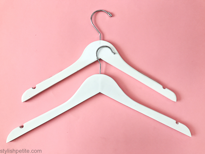 88866ec5e Petite white wood hangers (these are the exact ones I bought, matching  skirt hangers HERE)