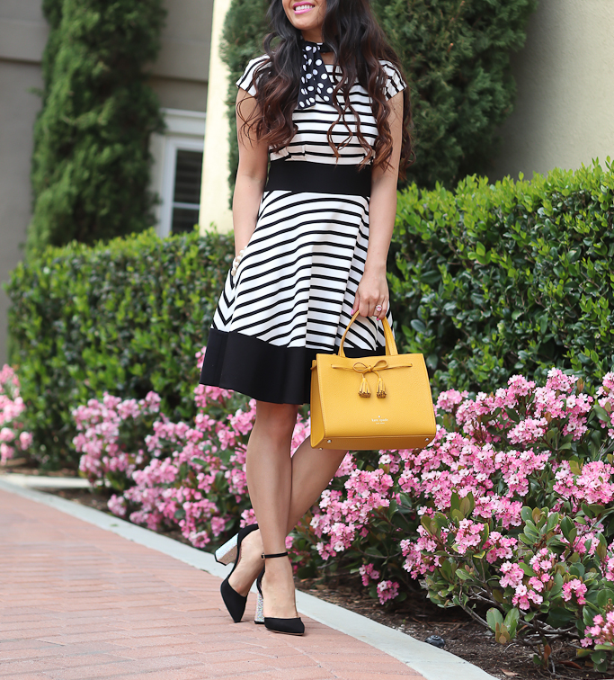 kate spade new york HAYES STREET SMALL ISOBEL, pax heels, polka dot silk skinny scarf, ponte stripe fiorella dress