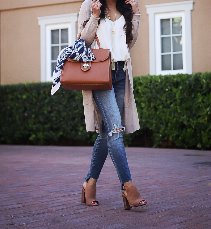 BP. ripped step hem skinny jeans, Halogen LONG LINEN BLEND CARDIGAN, Kendra Scott Phara Necklace In Gold, Talbots ANCHORS AWAY SILK SCARF, Talbots TOP-HANDLE PEBBLED LEATHER SATCHEL, Tophop Rouleau Swing Camisole