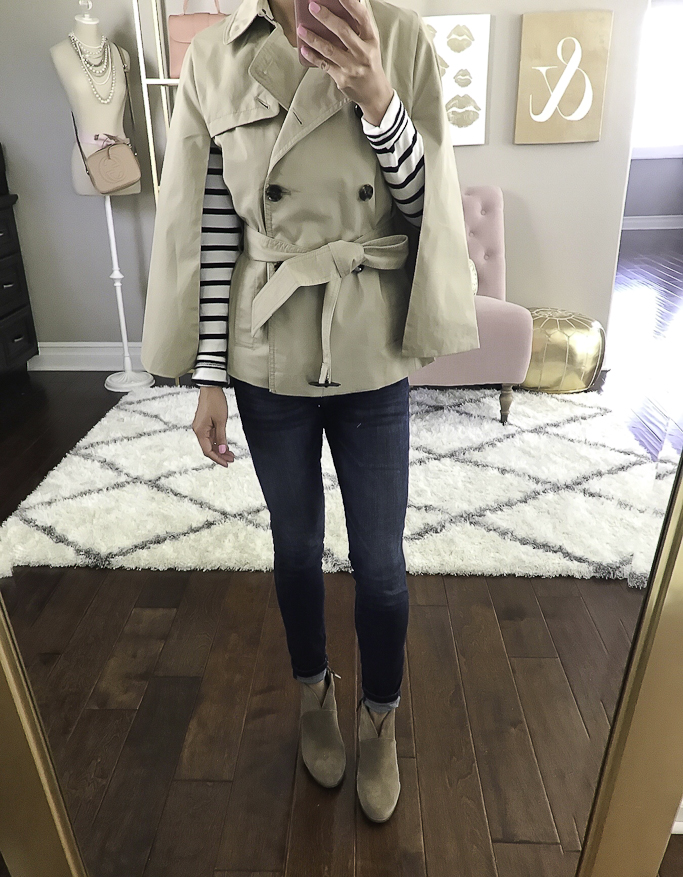 trench cape fall outfit ankle booties skinny jeans