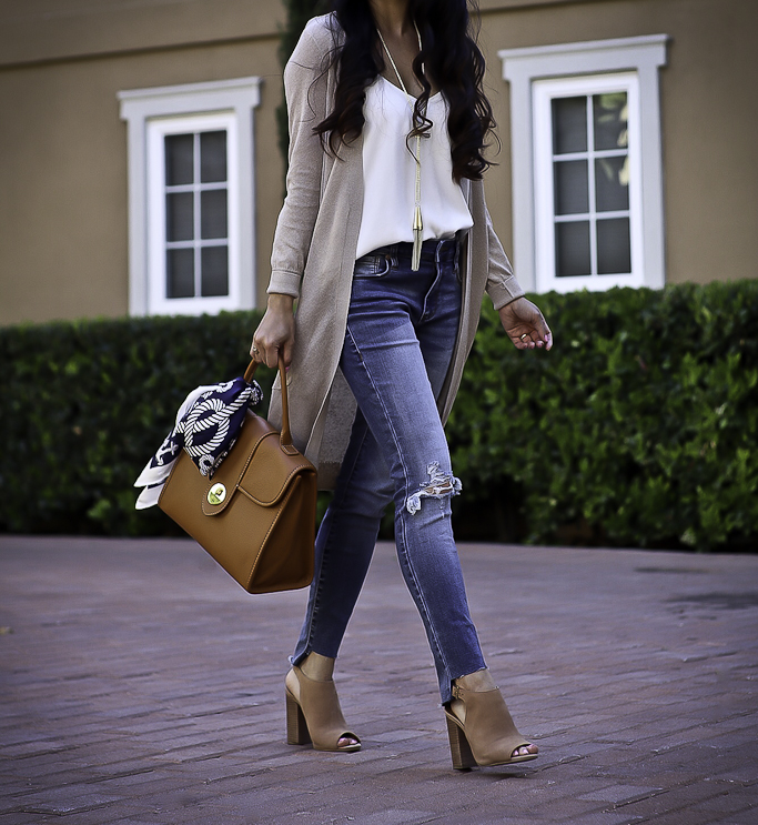 step hem jeans cognac leather satchel long cardigan casual fall outfit
