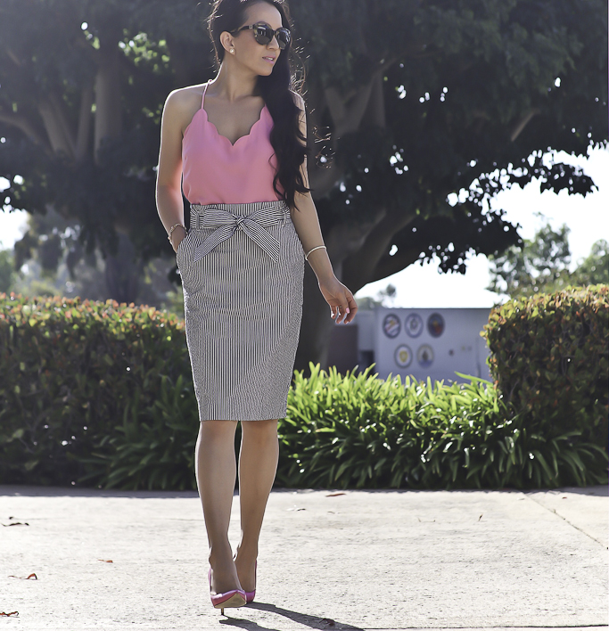 scalloped cami seersucker striped pencil skirt spring work outfit idea