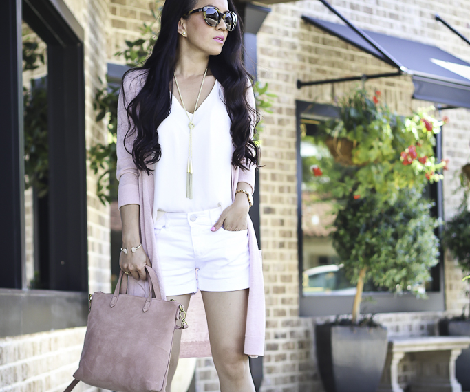 casual summer outfit long cardigan denim shorts blush and white