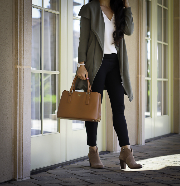 casual fall outfit olive green ankle booties black ponte pants