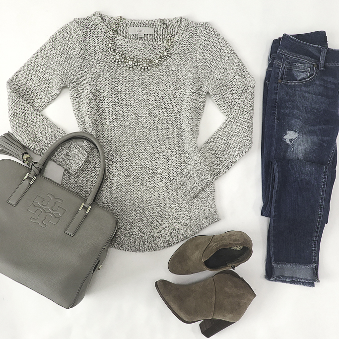 casual outfit idea gray purse ankle booties step hem jeans