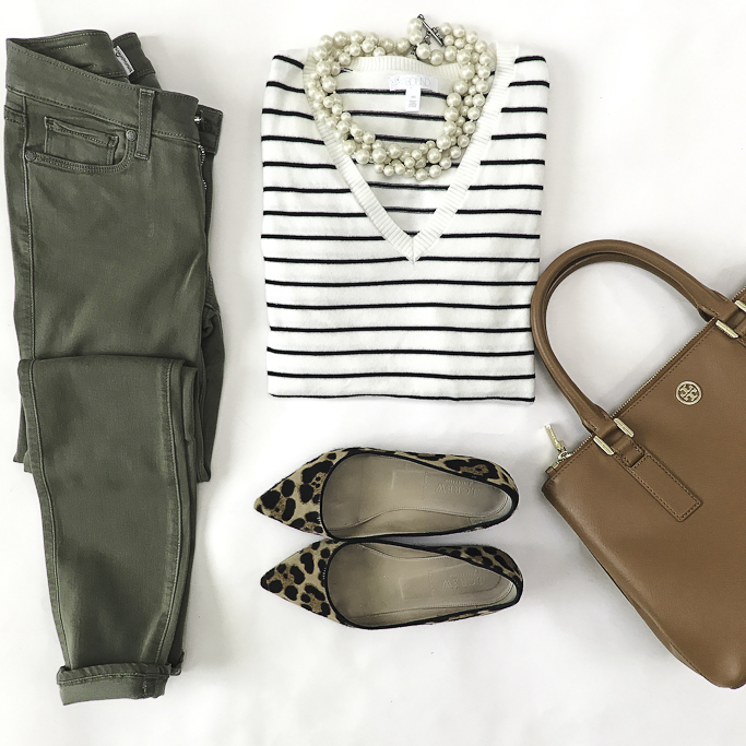 olive jeans leopard flats striped sweater casual fall outfit